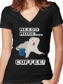Ferret Needs More Coffee! Women's Fitted V-Neck T-Shirt