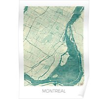 Montreal Map Blue Vintage Poster
