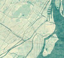 Montreal Map Blue Vintage Sticker