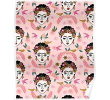 Frida Kahlo pattern print kids hand drawn pastel pink  andrea lauren  Poster