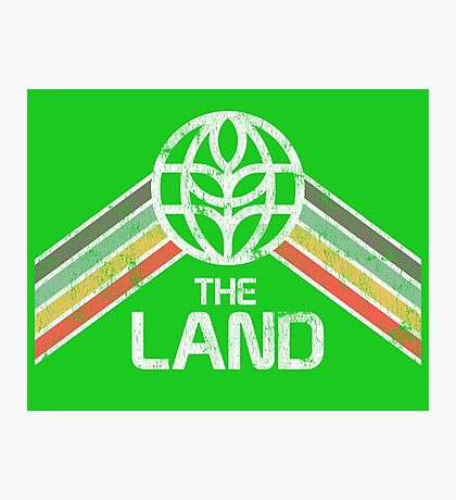 The Land Logo Distressed in Vintage Retro Style Photographic Print