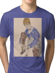 Egon Schiele - Portrait of the Artist's Wife Seated, Holding Her Right Leg 1917 Tri-blend T-Shirt