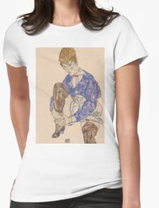 Egon Schiele - Portrait of the Artist's Wife Seated, Holding Her Right Leg 1917 Womens Fitted T-Shirt