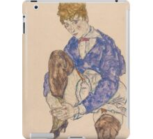 Egon Schiele - Portrait of the Artist's Wife Seated, Holding Her Right Leg 1917 iPad Case/Skin