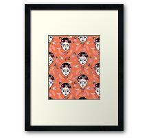 Frida Kahlo hand drawn kids children illustration pattern print design andrea lauren  Framed Print