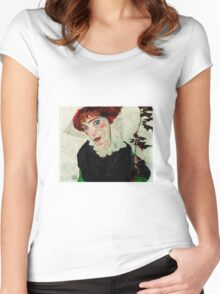 Egon Schiele - Portrait of Wally Neuzil 1912 Woman Portrait Women's Fitted Scoop T-Shirt