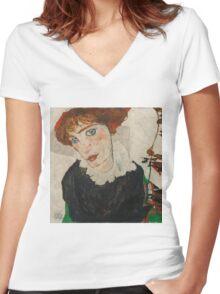 Egon Schiele - Portrait of Wally Neuzil 1912 Woman Portrait Women's Fitted V-Neck T-Shirt