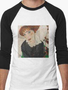 Egon Schiele - Portrait of Wally Neuzil 1912 Woman Portrait Men's Baseball ¾ T-Shirt