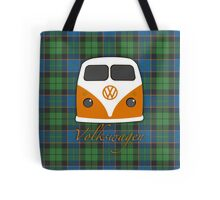 Orange VW classic old skool camper tartan Tote Bag