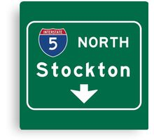 Stockton, Road Sign, California Canvas Print