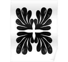 Black and white modern minimal ink painting pattern splash water  Poster
