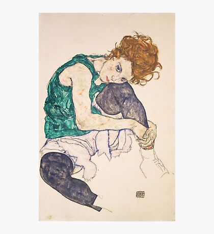 Egon Schiele - Seated Woman with Legs Drawn Up Adele Herms 1917 Photographic Print