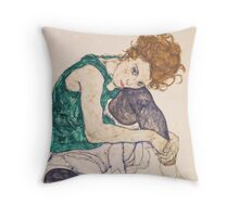 Egon Schiele - Seated Woman with Legs Drawn Up Adele Herms 1917 Throw Pillow