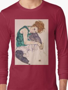 Egon Schiele - Seated Woman with Legs Drawn Up Adele Herms 1917 Long Sleeve T-Shirt
