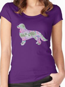 Golden Retriever Colorful Floral Garden Pattern  Women's Fitted Scoop T-Shirt