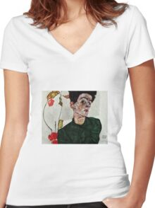 Egon Schiele - Self-Portrait with Chinese Lantern Plant 1912  Expressionism  Portrait Women's Fitted V-Neck T-Shirt