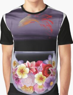 Floral Fish Bowl Graphic T-Shirt