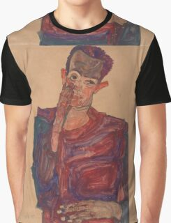 Egon Schiele - Self-Portrait with Eyelid Pulled Down, 1910  Expressionism  Portrait Graphic T-Shirt