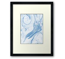 Hiroki - spilled ink abstract indigo navy blue water waves map maps topography swirl painting Framed Print