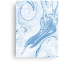 Hiroki - spilled ink abstract indigo navy blue water waves map maps topography swirl painting Canvas Print