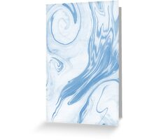 Hiroki - spilled ink abstract indigo navy blue water waves map maps topography swirl painting Greeting Card
