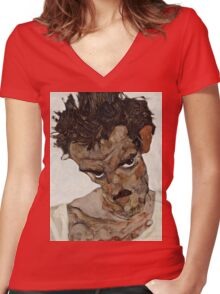 Egon Schiele - Self-Portrait with Lowered Head 1912  Expressionism  Portrait Women's Fitted V-Neck T-Shirt