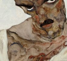 Egon Schiele - Self-Portrait with Lowered Head 1912  Expressionism  Portrait Sticker