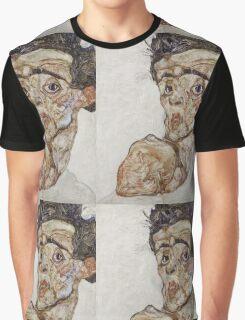 Egon Schiele - Self-Portrait with Raised Bare Shoulder 1912  Expressionism  Portrait Graphic T-Shirt