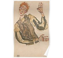 Egon Schiele - Self-Portrait with Striped Armlets 1915  Expressionism  Portrait Poster