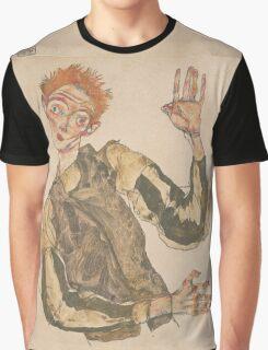 Egon Schiele - Self-Portrait with Striped Armlets 1915  Expressionism  Portrait Graphic T-Shirt
