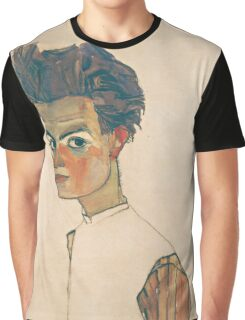 Egon Schiele - Self-Portrait with Striped Shirt 1910  Expressionism  Portrait Graphic T-Shirt