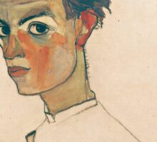 Egon Schiele - Self-Portrait with Striped Shirt 1910  Expressionism  Portrait Sticker