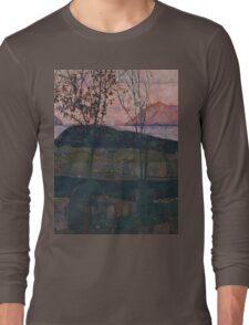 Egon Schiele - Setting Sun 1913  Expressionism Landscape Long Sleeve T-Shirt