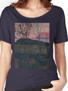 Egon Schiele - Setting Sun 1913  Expressionism Landscape Women's Relaxed Fit T-Shirt