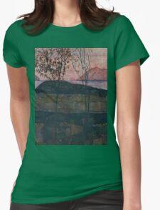Egon Schiele - Setting Sun 1913  Expressionism Landscape Womens Fitted T-Shirt