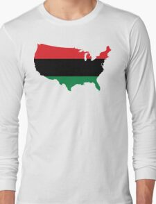 African American _ Red, Black & Green Colors Long Sleeve T-Shirt