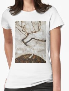 Egon Schiele - Small Tree in Late Autumn 1911  Expressionism Landscape Womens Fitted T-Shirt