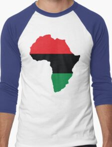 Red, Black & Green Africa Flag Men's Baseball ¾ T-Shirt