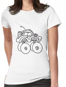 cool giant monster truck comic eyes face cartoon cars turbo Womens Fitted T-Shirt
