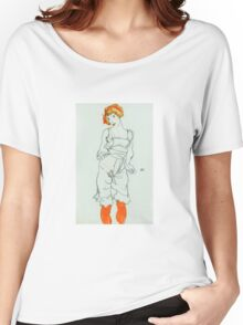 Egon Schiele - Woman in Underclothes and Stockings Wally Neuzil 1913  Expressionism Woman Portrait Women's Relaxed Fit T-Shirt