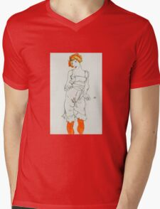 Egon Schiele - Woman in Underclothes and Stockings Wally Neuzil 1913  Expressionism Woman Portrait Mens V-Neck T-Shirt