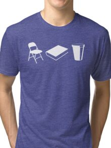 Folding chairs, books and coffee Tri-blend T-Shirt