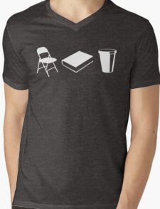 Folding chairs, books and coffee Mens V-Neck T-Shirt