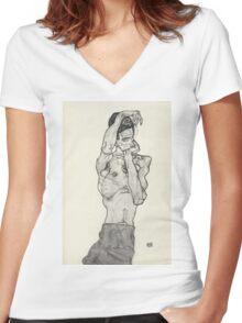 Egon Schiele - Zeichnungen II. 1914  Expressionism  Portrait Women's Fitted V-Neck T-Shirt