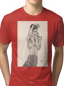 Egon Schiele - Zeichnungen II. 1914  Expressionism  Portrait Tri-blend T-Shirt