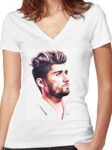 Zayn-pink Women's Fitted V-Neck T-Shirt