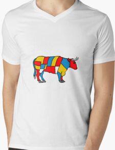 Mondrian Cow Mens V-Neck T-Shirt