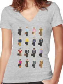 The Office: Characters Women's Fitted V-Neck T-Shirt