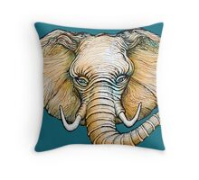Floating Elephant Head - colorized Throw Pillow