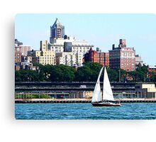 New York - Sailboat Against Manhattan Skyline Canvas Print